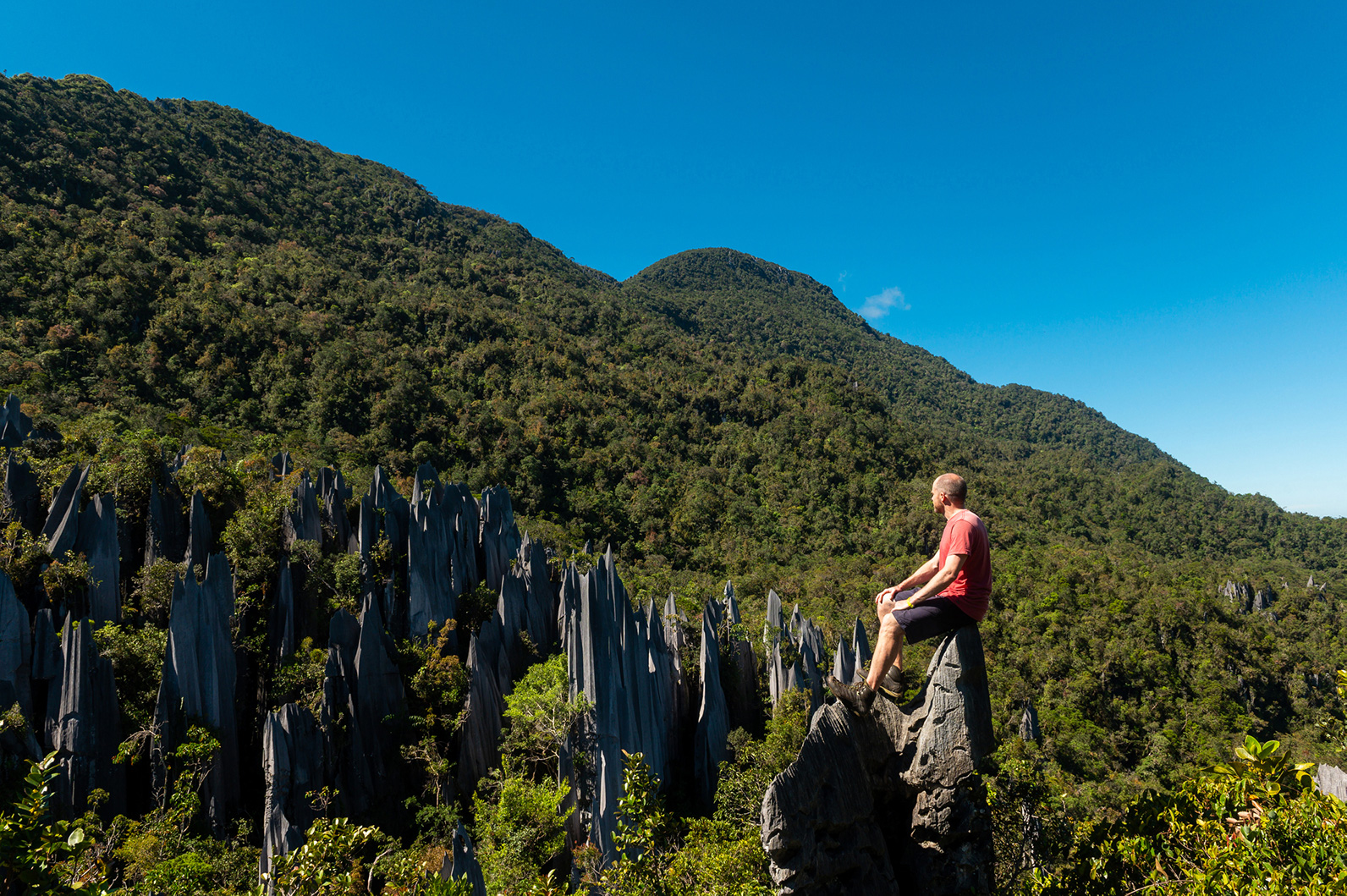 A tourist explores the Gunung Mulu National Park in Sarawak.