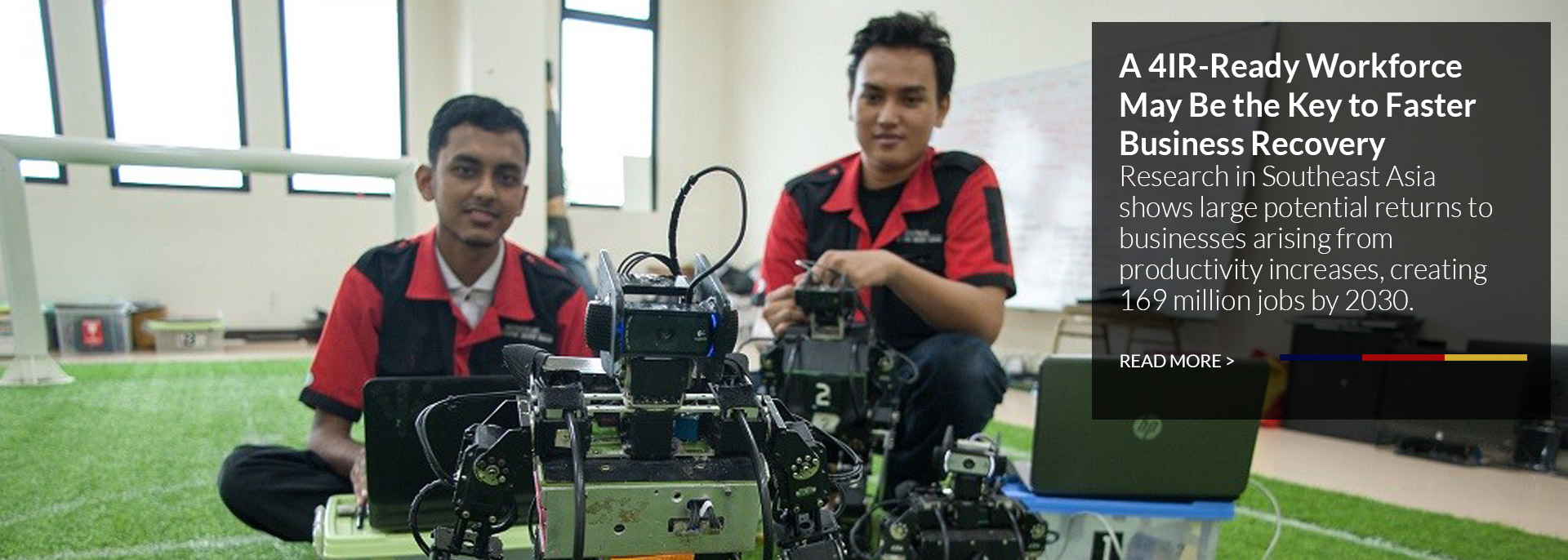 Mechatronics students in Indonesia work on their soccer-bots